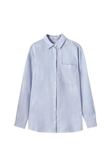 Camisa de popelina às riscas unissexo