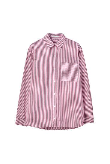 Ριγέ πουκάμισο unisex από ποπλίνα