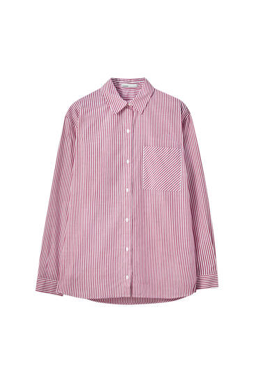 Unisex striped poplin shirt