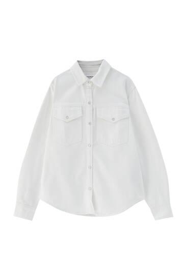 Weißes Jeanshemd mit Passe
