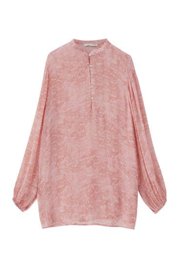 Printed tunic shirt with buttons