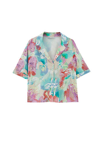 Printed lapel collar shirt