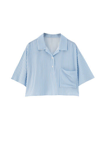 Striped shirt with polo collar - Join Life viscose (at least 50%)