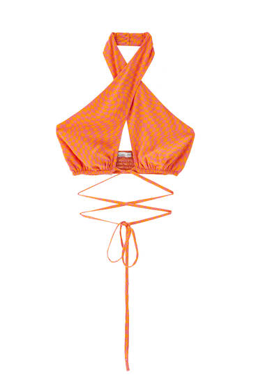 Orange wrap top with straps