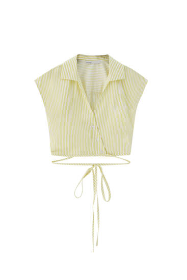 Striped cropped shirt with tie detail