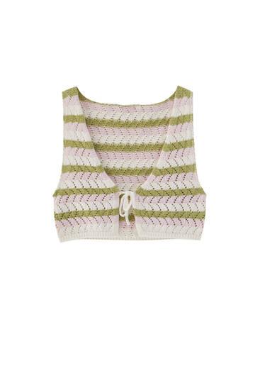 Coloured stripe crochet vest