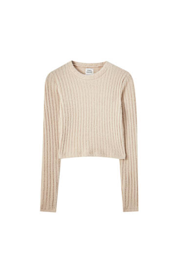 Wide-ribbed cropped sweater