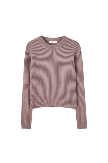 Cropped sweater with side slits