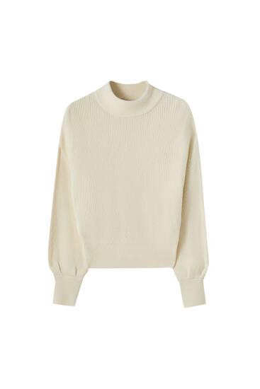 Fluffy high neck sweater