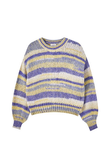 Multicoloured striped knit sweater