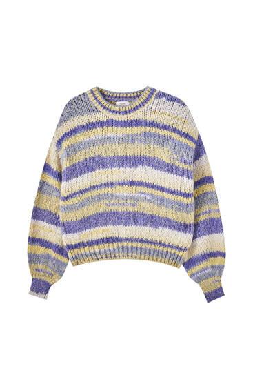 Vícebarevný proužkovaný úpletový svetr