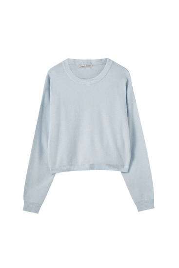 Cropped tricot trui met ronde hals