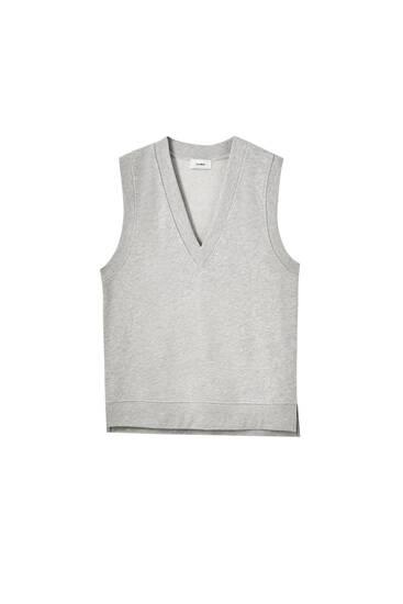 V-neck plush vest