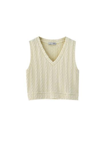 Short cable-knit waistcoat