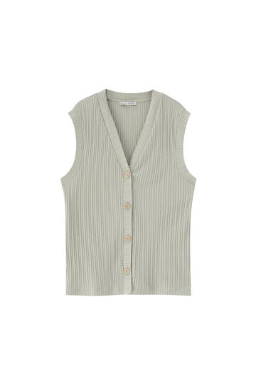 Ribbed waistcoat with front buttons