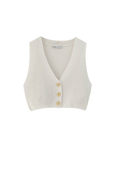 Cropped tricot vestje met knopen