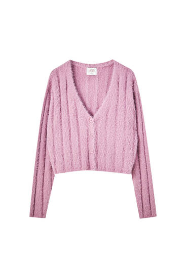 Ribbed knit fuzzy cardigan