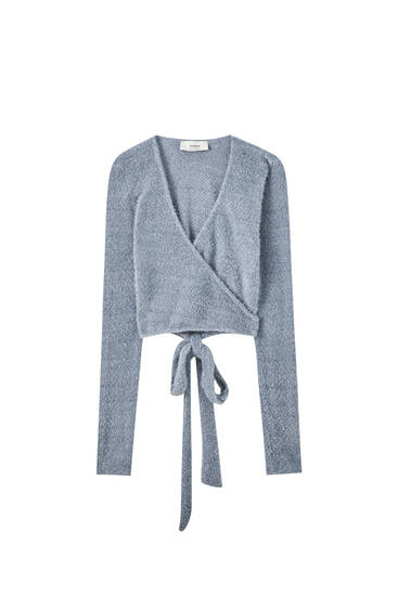 Blue knit ballet cardigan
