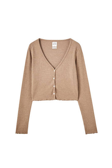 Cropped ribbed cardigan with buttons