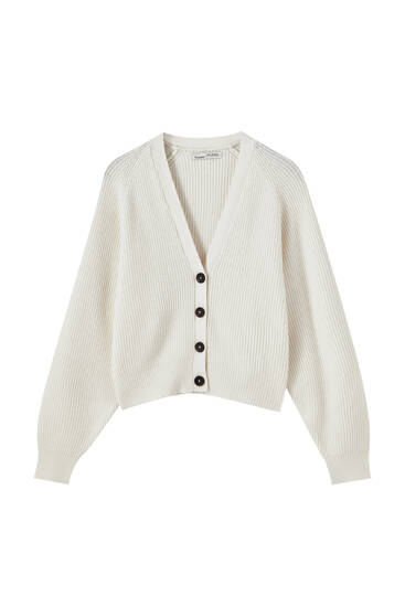 Rib cardigan with raglan sleeves