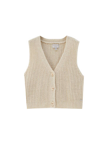 Rustic knit vest with buttons
