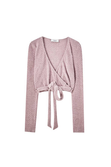 Pink chenille ballet cardigan