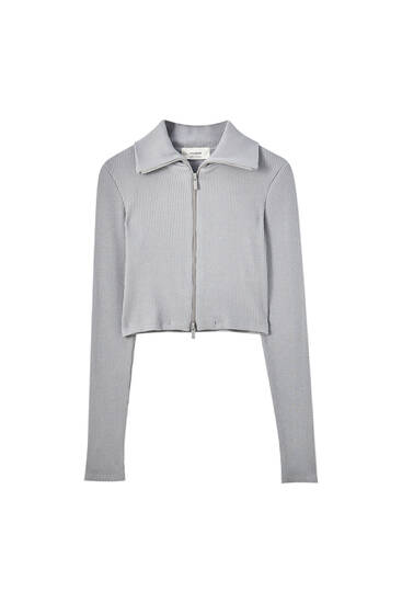 Cropped cotton jacket with zip