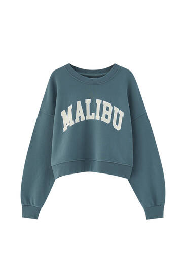 Cropped-Sweatshirt im College-Stil