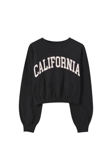 Varsity sweatshirt with elastic hem