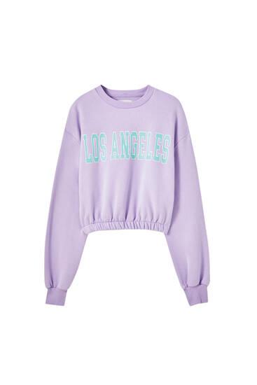 Cropped-Sweatshirt mit Gummizug am Saum