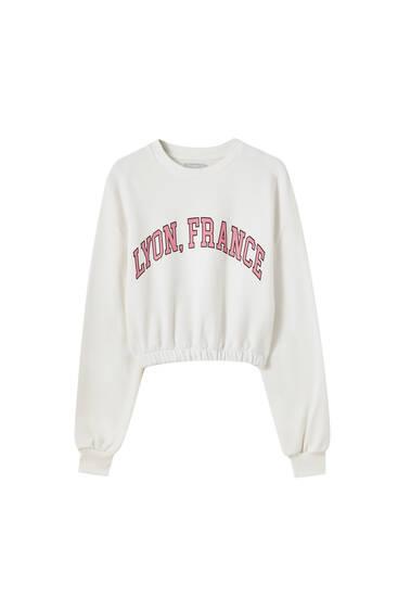 Cropped sweatshirt with elastic hem