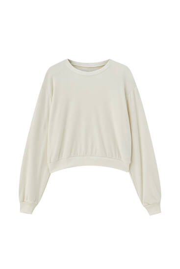 Soft-touch voluminous sleeve sweatshirt