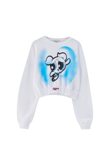 White cropped Powerpuff Girls sweatshirt