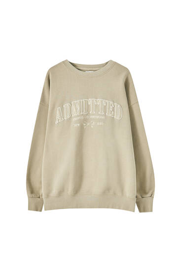 Ochre sweatshirt with front slogan