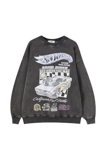 Faded-effect Hot Wheels sweatshirt