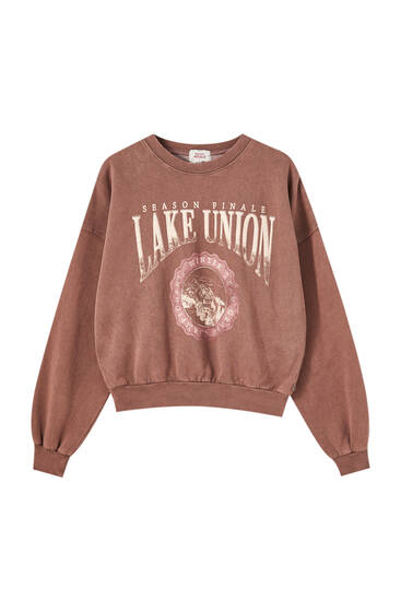 Brown faded effect landscape sweatshirt