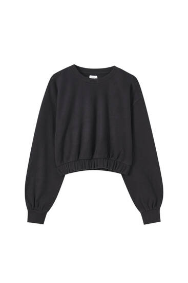 Soft touch sweatshirt met elastiek in de zoom