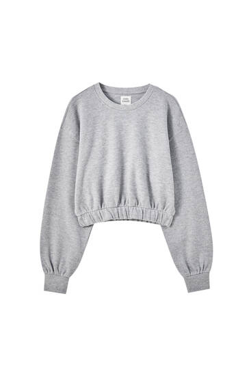 Soft-touch sweatshirt with elastic hem