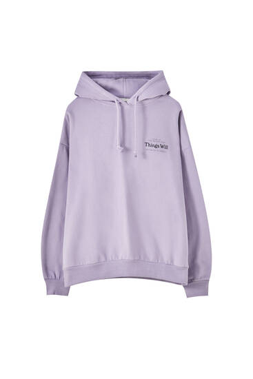 Lilac hoodie with printed graphic and flower details