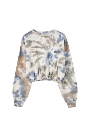 Blue and green tie-dye sweatshirt