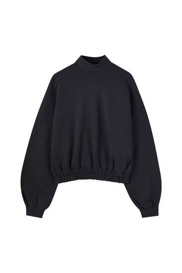 Cropped mock neck sweatshirt