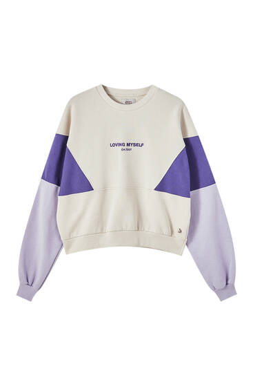 Sweat color block violet
