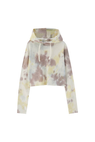 Check-texture tie-dye hoodie - 100% ecologically grown cotton