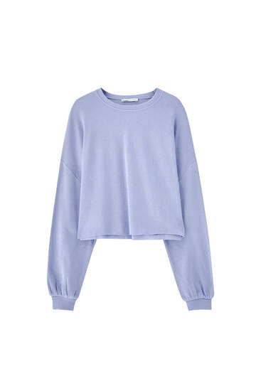 Cropped wide-sleeved sweatshirt