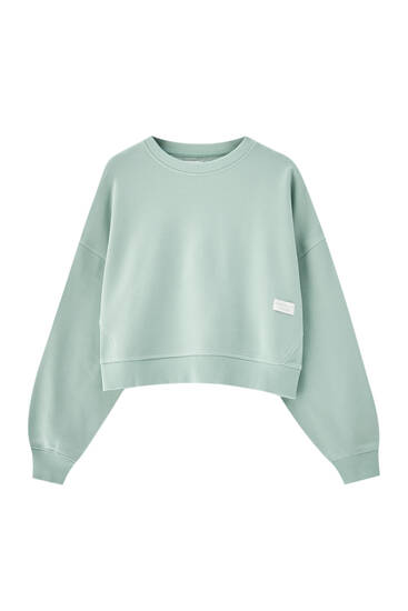 Pastel-coloured sweatshirt with round neck