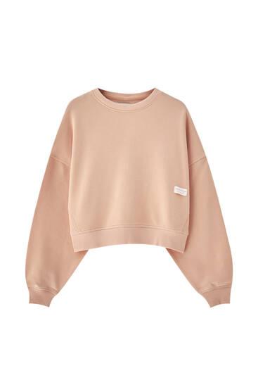 Pastel-coloured sweatshirt with round neck