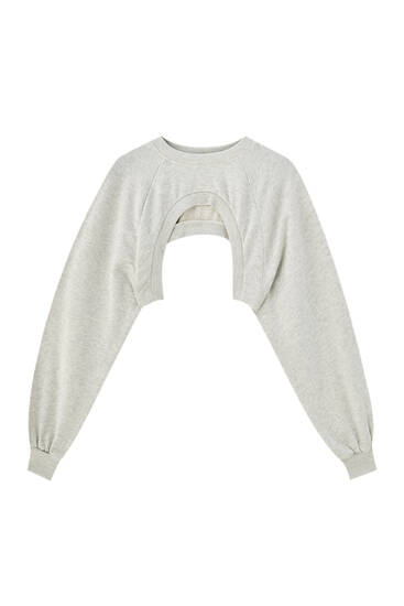 Round neck shrug sweatshirt