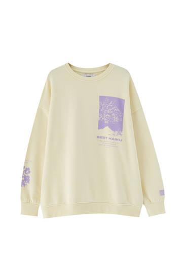 Vanillefarbenes Basic-Sweatshirt mit Motiv