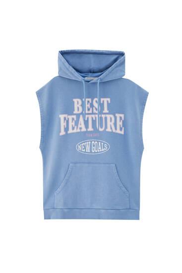 Blauwe sweatstof bodywarmer
