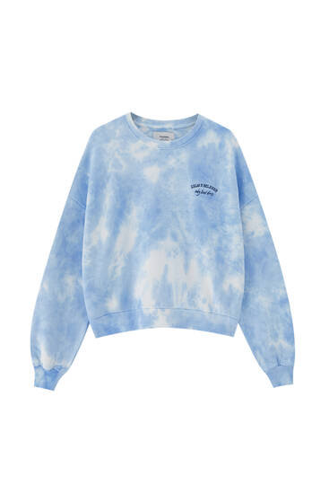 Blue tie-dye sweatshirt with embroidery